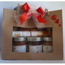 Confezione regalo sacchetto in carta con finestra con 3 confetture nonnaconcetta