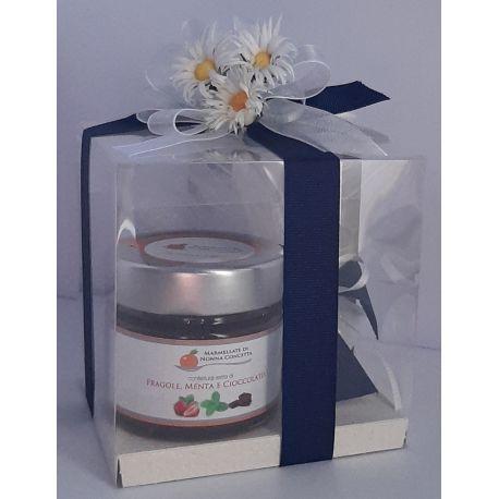 Bomboniera in scatola trasparente con confetti e 1 confettura di Nonnaconcetta
