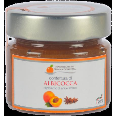 Bomboniera con Delizia di albicocca al profumo di anice stellato scatola cartone avorio fiocco arancione