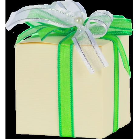 Bomboniera fiocco verde e bianco con 1 delizia di peperone e peperoncino- nonna concetta