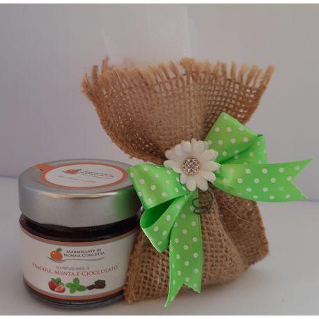 Bomboniera fiocco verde margherita sacchetto juta 1 confettura di Nonnaconcetta
