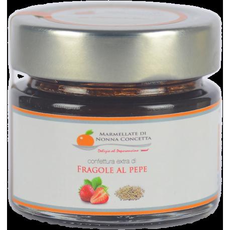 Bomboniera comunione cresima confezionata con  Confettura Extra di fragole al pepe -nonnaconcetta.it