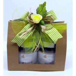 Confezione regalo sacchetto in carta con finestra con 2 confetture nonnaconcetta