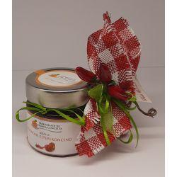 Bomboniera con Confettura di Peperone e Peperoncino sacchetto quadretti rosso e peperoncino e confetti