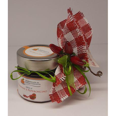 Bomboniera con Confettura di Peperone e Peperoncino sacchetto quadretti rosso peperoncini  confetti 5