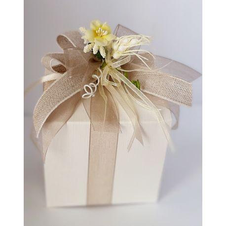 Bomboniera comunione cresima con Marmellata Di Agrumi e Zenzero scatola  cartone avorio fiocco neutro