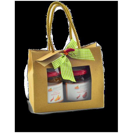 Confezione regalo sacchetto in carta con finestra con  confetture di Nonnaconcetta