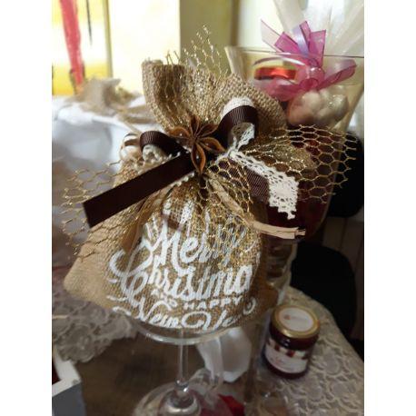 Confezione regalo sacchetto in carta con finestra con 3 confetture di Nonnaconcetta